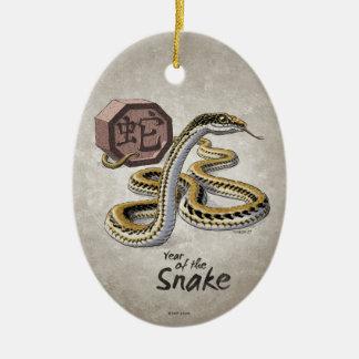Ornement Ovale En Céramique Année chinoise de zodiaque de l'art de serpent