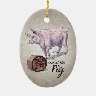 Ornement Ovale En Céramique Année de l'art chinois de zodiaque de porc