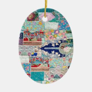 Ornement Ovale En Céramique Aqua et conception bleue de tapisserie d'édredon