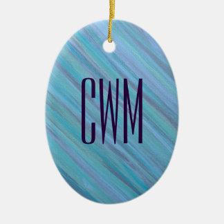 Ornement Ovale En Céramique Aqua Laidback | de bleu de turquoise de monogramme