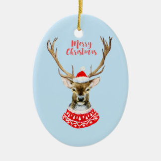 Ornement Ovale En Céramique Aquarelle de Noël | - renne bleu de Père Noël