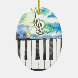 Ornement Ovale En Céramique Aquarelle de piano