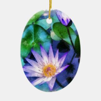 Ornement Ovale En Céramique Aquarelle pourpre de Lotus