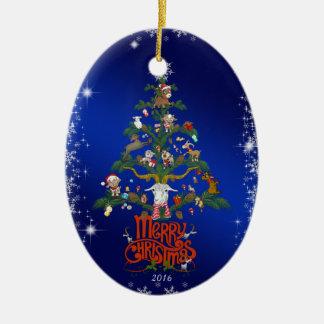 Ornement Ovale En Céramique Arbre de chèvre de Joyeux Noël du cadeau | de Noël