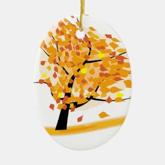 Ornement Ovale En Céramique arbre de chute