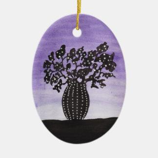 Ornement Ovale En Céramique Arbre pourpre de baobab de ciel