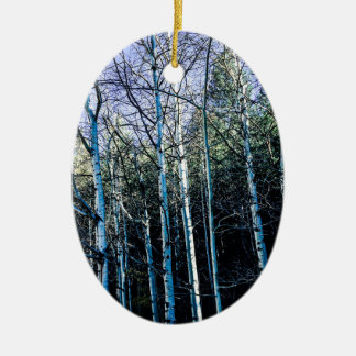 Ornement Ovale En Céramique Arbres d'Aspen en automne