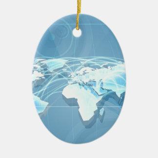 Ornement Ovale En Céramique Arrière - plan de carte de mondialisation de