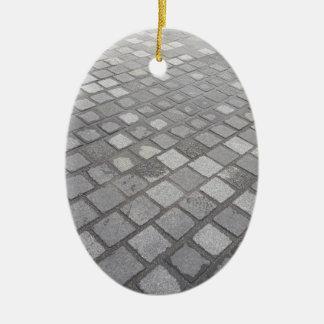 Ornement Ovale En Céramique Arrière - plan de pavage carré de gris