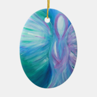 Ornement Ovale En Céramique Art curatif lunatique d'ange bleu