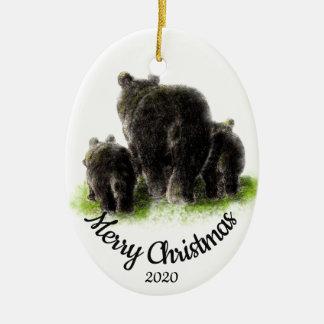 Ornement Ovale En Céramique Art d'animal de famille d'ours de Noël daté par