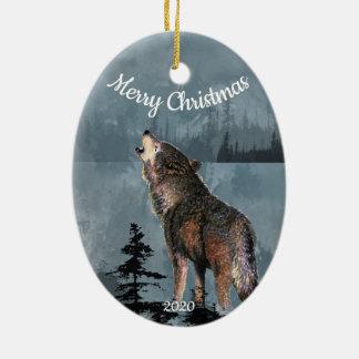 Ornement Ovale En Céramique Art daté d'aquarelle de loup d'hurlement de Noël