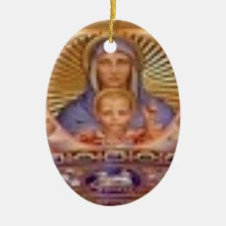 Ornement Ovale En Céramique art de Mary et d'enfant