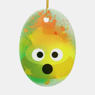 Ornement Ovale En Céramique Art de peinture de jet de jaune de dunette d'Emoji