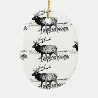 Ornement Ovale En Céramique art de troupeau d'élans ouais
