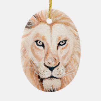 Ornement Ovale En Céramique Art fort d'huile de portrait de lion