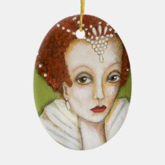 Ornement Ovale En Céramique Art lunatique de Tudor de portrait d'Elizabeth I
