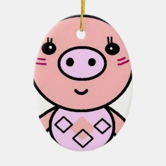Ornement Ovale En Céramique art rose de porc
