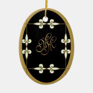 Ornement Ovale En Céramique Art vintage victorien Nouveau de monogramme