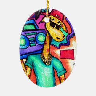 Ornement Ovale En Céramique Artiste de graffiti de girafe
