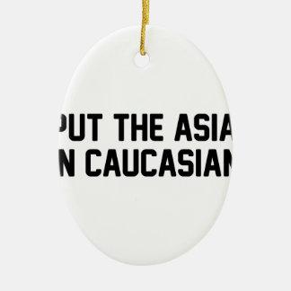 Ornement Ovale En Céramique Asiatique dans le Caucasien