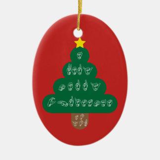 Ornement Ovale En Céramique ASL - Un Noël très Joyeux à vous ornementent
