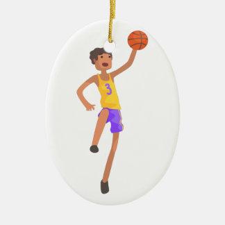 Ornement Ovale En Céramique Autocollant sautant d'action de joueur de basket
