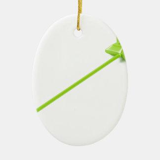 Ornement Ovale En Céramique Baguette magique magique verte