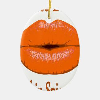 Ornement Ovale En Céramique baisers d'épice de citrouille