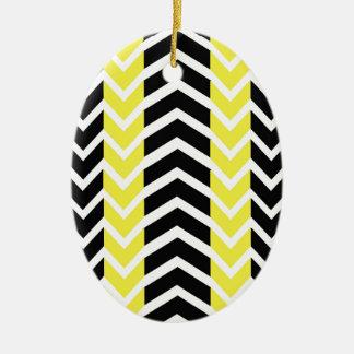 Ornement Ovale En Céramique Baleine jaune et noire Chevron