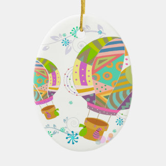 Ornement Ovale En Céramique Ballon coloré heureux d'air chaud