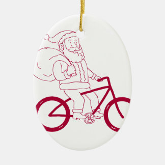 Ornement Ovale En Céramique Bande dessinée de côté de bicyclette d'équitation