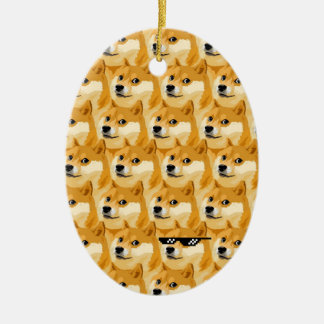 Ornement Ovale En Céramique Bande dessinée de doge - texture de doge - shibe -