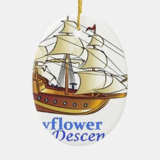 Ornement Ovale En Céramique Bateau de navigation de descendant de fleur