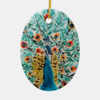 Ornement Ovale En Céramique Beau paon de vert vert et de turquoise