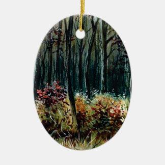 Ornement Ovale En Céramique beauté dans les bois