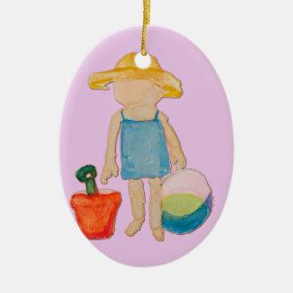Ornement Ovale En Céramique Bébé sur le timbre de rose rose d'anniversaire de