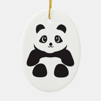 Ornement Ovale En Céramique Bel ours panda