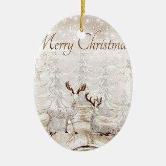 Ornement Ovale En Céramique Belle scène des cerfs communs avec les arbres et