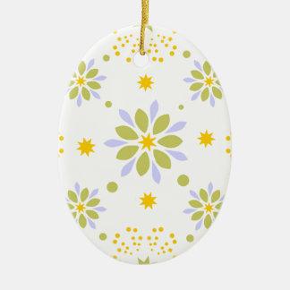 Ornement Ovale En Céramique Belles fleurs et étoiles