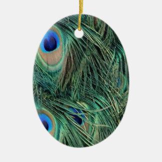 Ornement Ovale En Céramique Belles plumes de paon