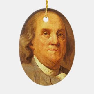 Ornement Ovale En Céramique Benjamin Franklin