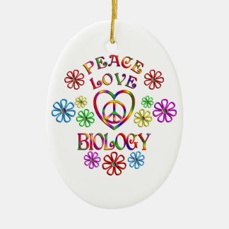 Ornement Ovale En Céramique Biologie d'amour de paix