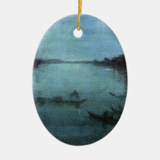 Ornement Ovale En Céramique Bleu et argentez la lagune Venise