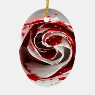 Ornement Ovale En Céramique Blood rose