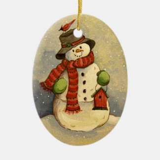 Ornement Ovale En Céramique Bonhomme de neige 4905 et Noël de volière