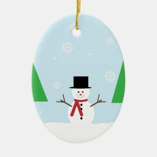 Ornement Ovale En Céramique Bonhomme de neige de Noël