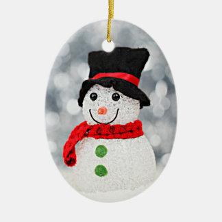 Ornement Ovale En Céramique Bonhomme de neige du pays des merveilles d'hiver