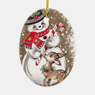 Ornement Ovale En Céramique bonhomme de neige vintage des années 1950 avec des