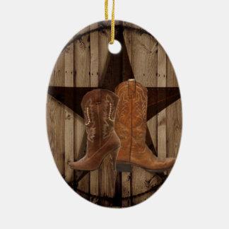 Ornement Ovale En Céramique Bottes de cowboy en bois de pays occidental